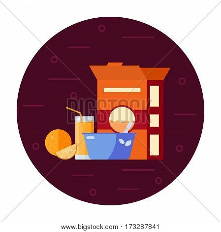 The concept of breakfast time, delicious breakfast, oatmeal, fresh juice. Vector illustrations