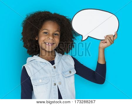 African Kid Speech Bubble Studio Portrait Concept