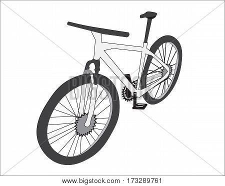 the bicycle is gray the apparatus costs a half-turn