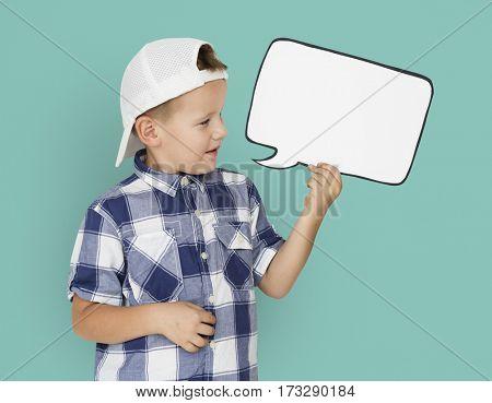 Caucasian Little Boy Holding Chatbox Papercraft