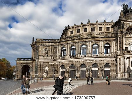 DRESDEN GERMANY - NOVEMBER 2 2012: Semper Opera House in Dresden on November 2 2012.