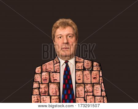 The collage from different senior businessman face expressions on black background