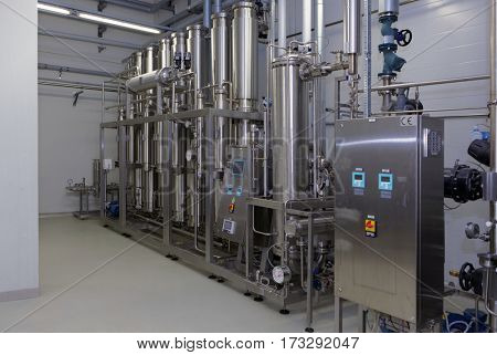 ST. PETERSBURG, RUSSIA - SEPTEMBER 24, 2015: Water purification equipment on the Solopharm plant. The new modern pharmaceutical plant was built in accordance with Good Manufacturing Practice standards