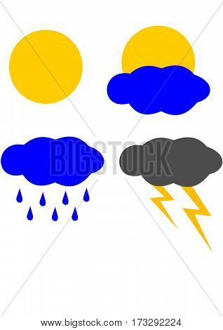 Icons weather, sunny, cloudy, cloudy, storm and rain