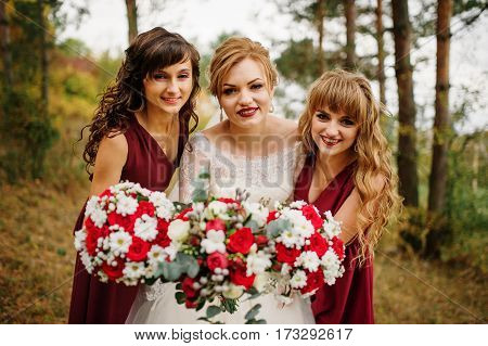 Bride With Bridesmaids On Red Dresses At Autumn Pine Wood.