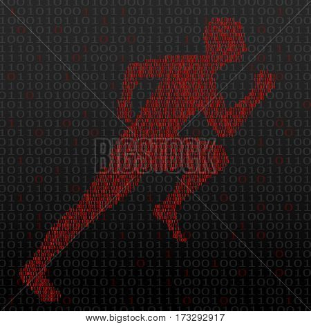 Abstract silhouette running man from binary computer code