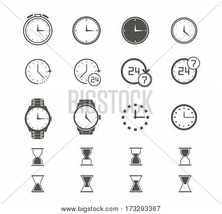 Clock icons set of different types on white background. Watch logo, elements for web and mobile apps