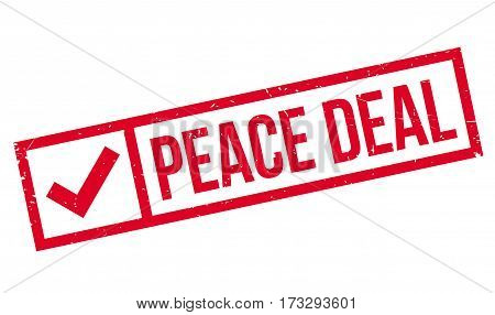 Peace Deal rubber stamp. Grunge design with dust scratches. Effects can be easily removed for a clean, crisp look. Color is easily changed.