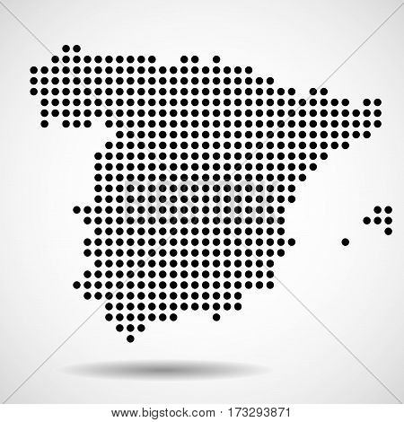 Abstract map of Spain from round dots
