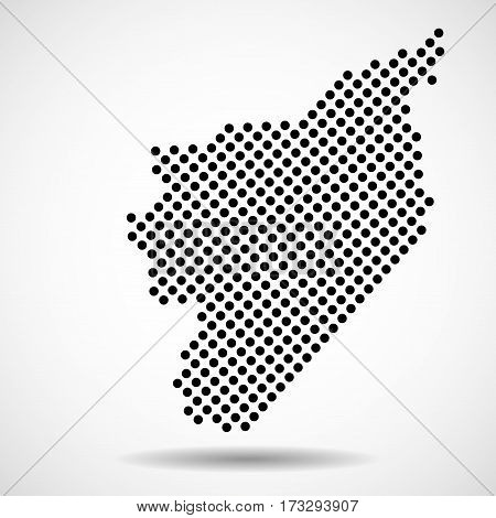 Abstract map of Syria from round dots