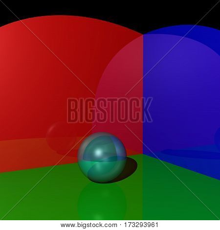 A mirror ball on the three-color background