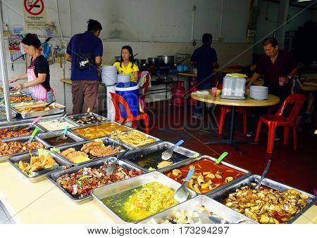 PINANG ISLAND, 14 JANUARY 2017 - Street food in George Town, Pinang Island, Malaysia