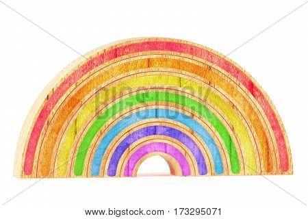 Cartoon styled wooden rainbow isolated on white background. 3d rendering