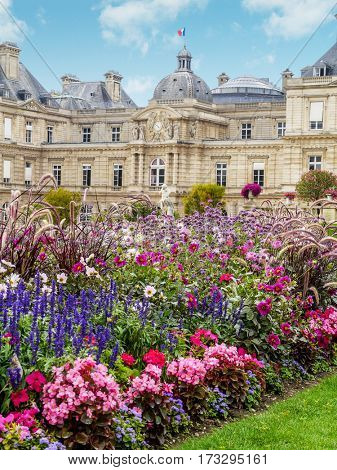 PARIS, FRANCE - AUGUST 27 2013: Luxembourg Palace in Jardin du Luxembourg, Paris, France