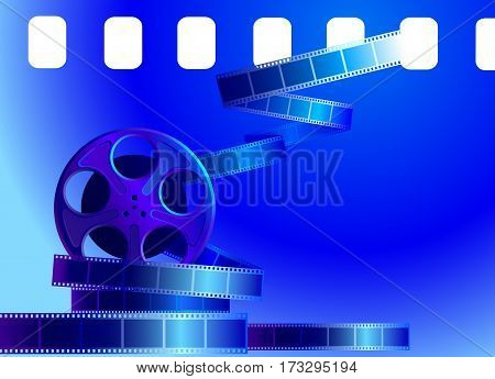 Reel of film on a blue background. Vector illustration