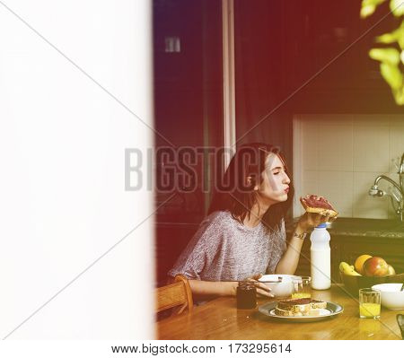 Gradient Color Style with Woman Eating Morning Breakfast