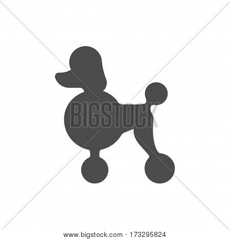 Poodle dog profile silhouette. Simple minimal icon or logo vector illustration