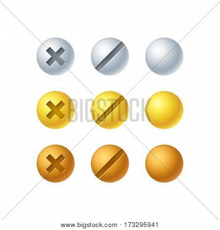 Isolated screw set in 3 colors - silver gold and bronze. Vector design elements shiny metallic buttons.
