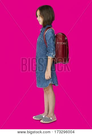 A girl with a backpack