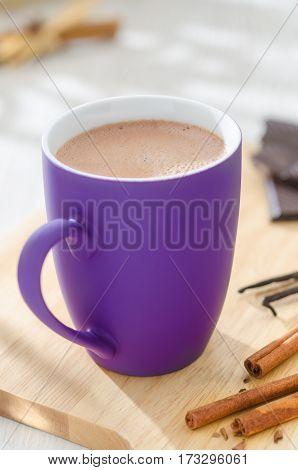 cup of hot chocolate among cinnamon and vanilla sticks and chocolate chunks