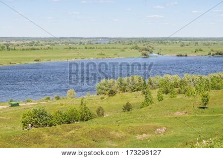 The river on the plain. Summer nature landscape of central Russia.