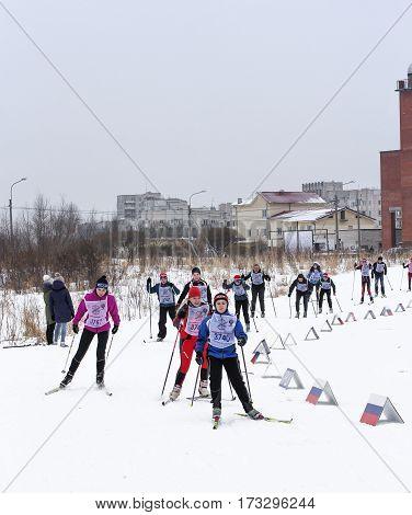 Kirishi, Russia - 11 February, Ski race teenagers, 11 February, 2017. Mass ski race Russian Ski Track.