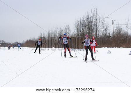 Kirishi, Russia - 11 February, People in the ski competition, 11 February, 2017. Mass ski race Russian Ski Track.