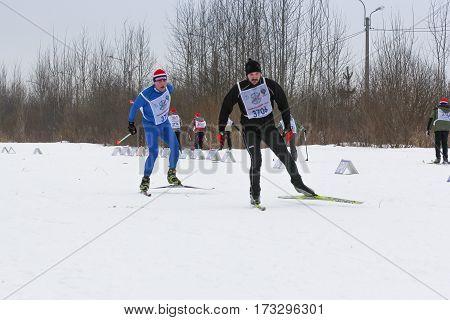 Kirishi, Russia - 11 February, Skiers in the race, 11 February, 2017. Mass ski race Russian Ski Track.