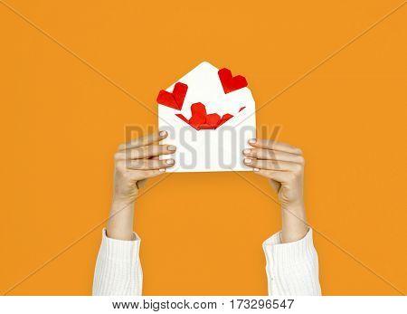 Hands Holding Heart Love Letter