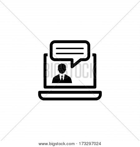 Online Consulting Icon. Business Concept. Flat Design. Isolated Illustration.