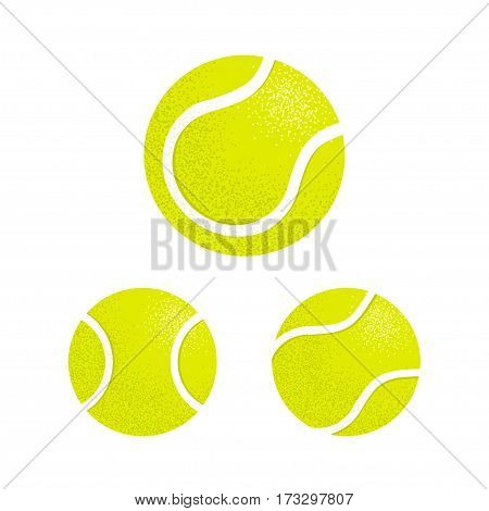 Yellow tennis balls set vector illustration. Retro style color shading.