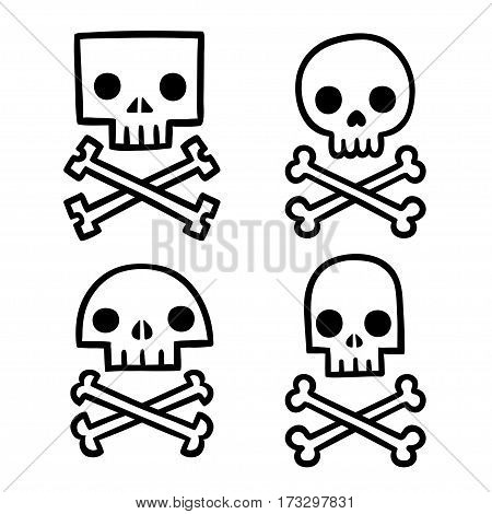 Stylized skull and crossbones doodle set. Different shapes and styles simple hand drawn vector illustration.