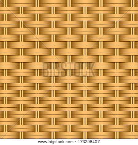 Simple woven wicker texture. Light brown background. Imitation rattan or willow weaving. Vector Image.