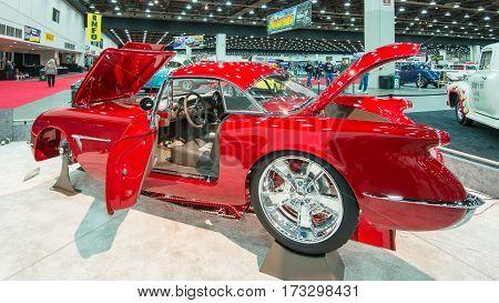 DETROIT MI/USA - February 25 2017: A 1954 Chevrolet Corvette car interpretation,