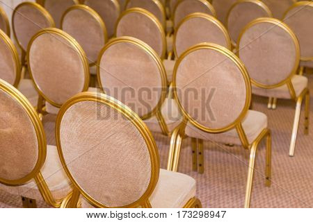 Rank Of Empty Chairs In Vintage Style