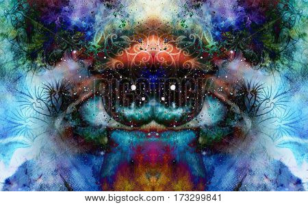 psychedelic eyes on multicolor abstract backgroung with ornamental pattern