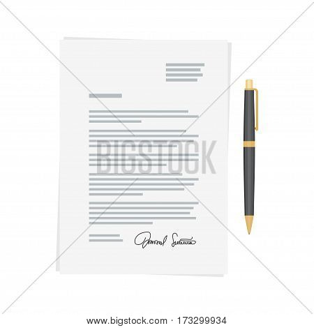 Signing of the contract and conditions document. Agreement and pen Vector illustration