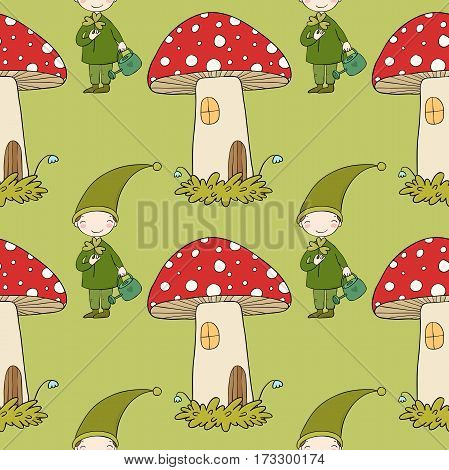 Pattern with cute elves and a mushroom house. garden gnome.