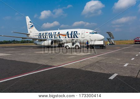 Bali Airport, Indonesia - August 28, 2008: Airplane Of Batavia Air Company Before Departure