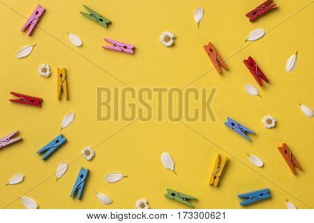 Spring or summer background with frame space for text: chamomiles and petals many bright multicolored clothespins. Top view. Flat lay.