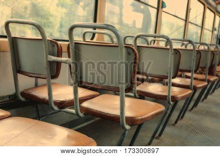 Seats inside city tram