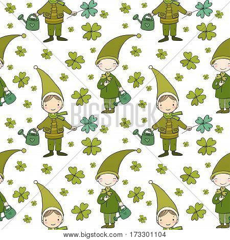 Pattern with cute gnomes. Clover and watering. Vector illustration for children design.