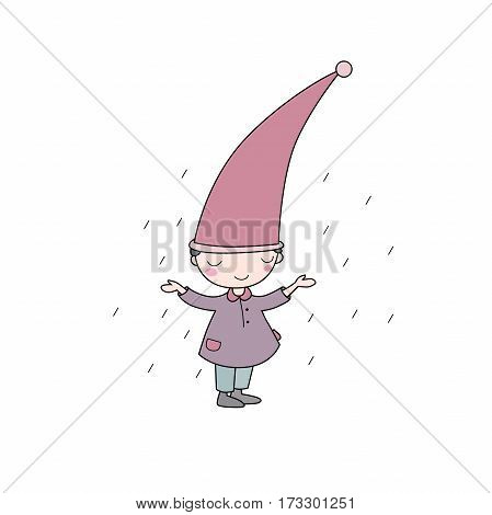 Cute little gnome. Elf and rain. isolated objects on white background. Vector illustration.