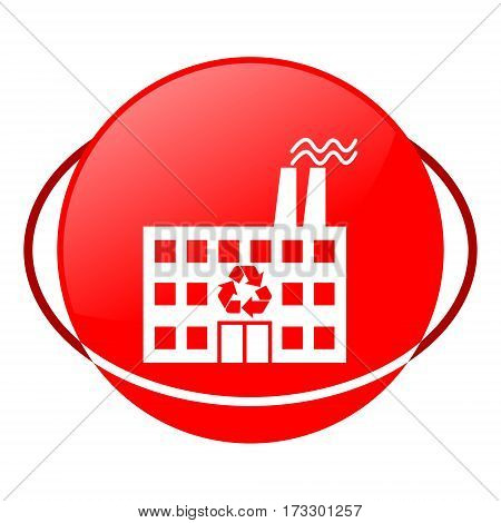 Red icon, recycling plant vector illustration on white background