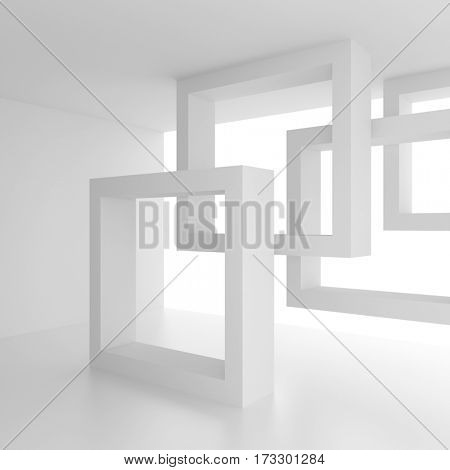 Abstract Interior Background. White Geometric Design. 3d Rendering of Creative Engineering Concept