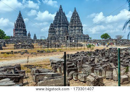 Yogyakarta, Indonesia - August, 28: Tourists Visiting Prambanan Hindu Temple (ix Cent.)