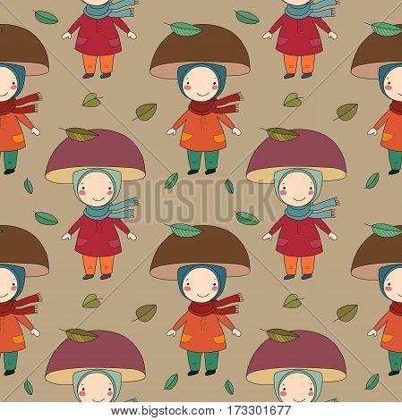 Seamless pattern with gnome mushroom. Cheerful fungus. Beautiful autumn. Vector illustration.