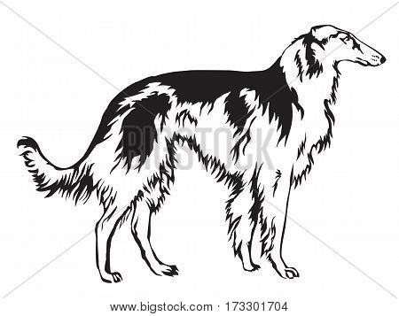 Decoratie Russian wolfhound Borzo vector illustration in black and white