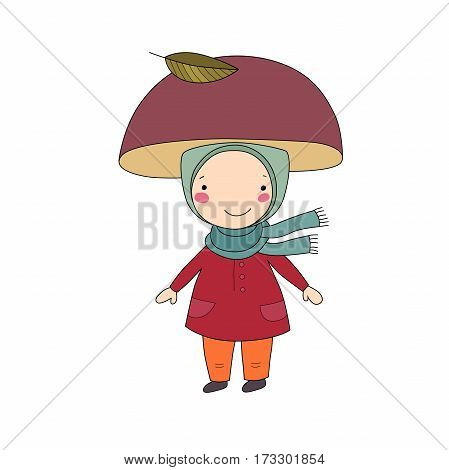 Cute little gnome mushroom. Vector illustration for children design.