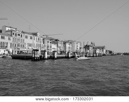 Giudecca Canal In Venice In Black And White